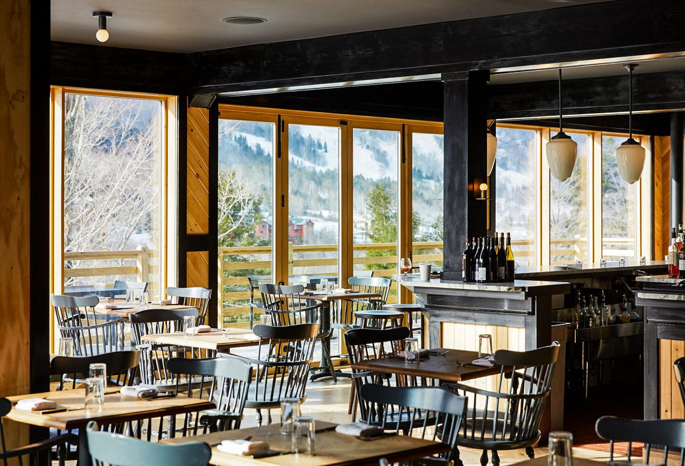 alpine skiing East Coast USA Trip Ideas table chair indoor Dining restaurant ceiling window wooden interior design café furniture set area dining room dining table