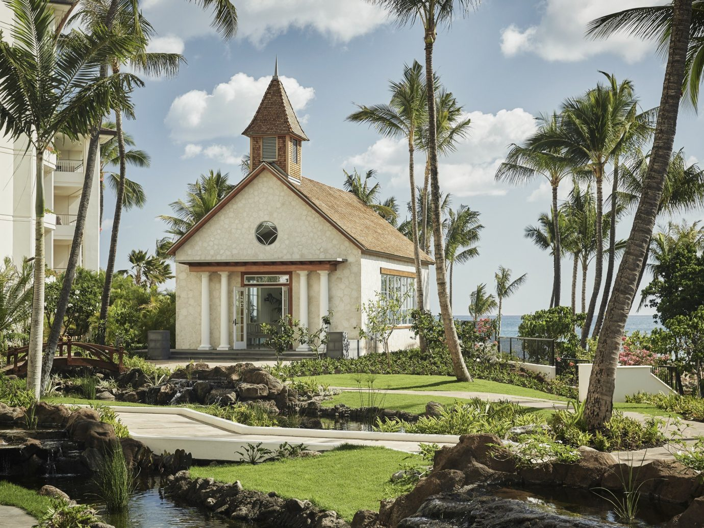 Offbeat tree outdoor sky property house arecales plant palm tree home estate cottage real estate Villa Resort palm hacienda mansion Garden stone surrounded