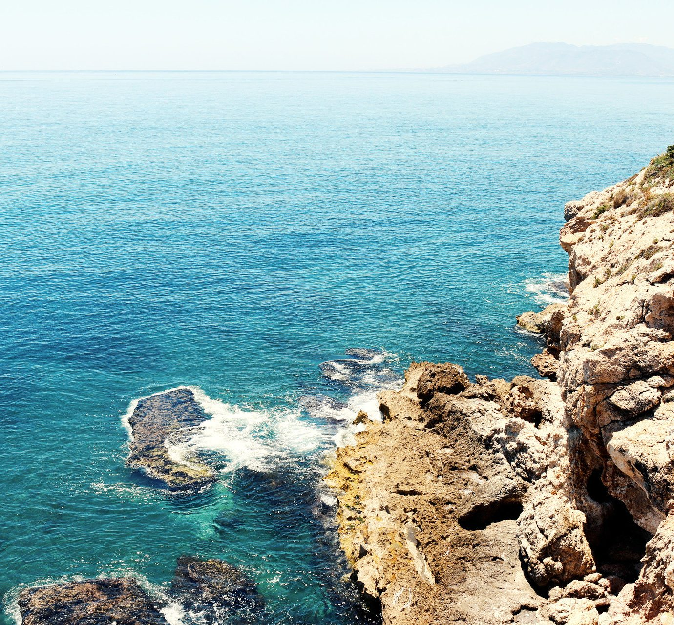 airy calm clear water Cliffs isolation Ocean overlook remote rock Rocks Scenic views serene turquoise view viewpoint outdoor water sky rocky Nature Sea Coast shore landform cliff terrain cape islet bay cove Beach reef overlooking Island