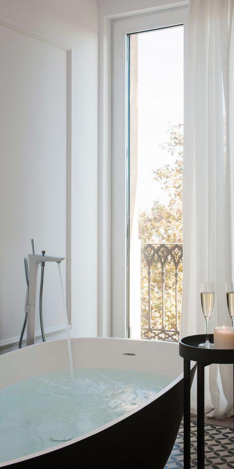 Barcelona Bath Boutique Boutique Hotels Design Drink Hotels Living Luxury Modern Spain wall indoor room property interior design curtain floor window covering window window treatment textile material plumbing fixture bathtub