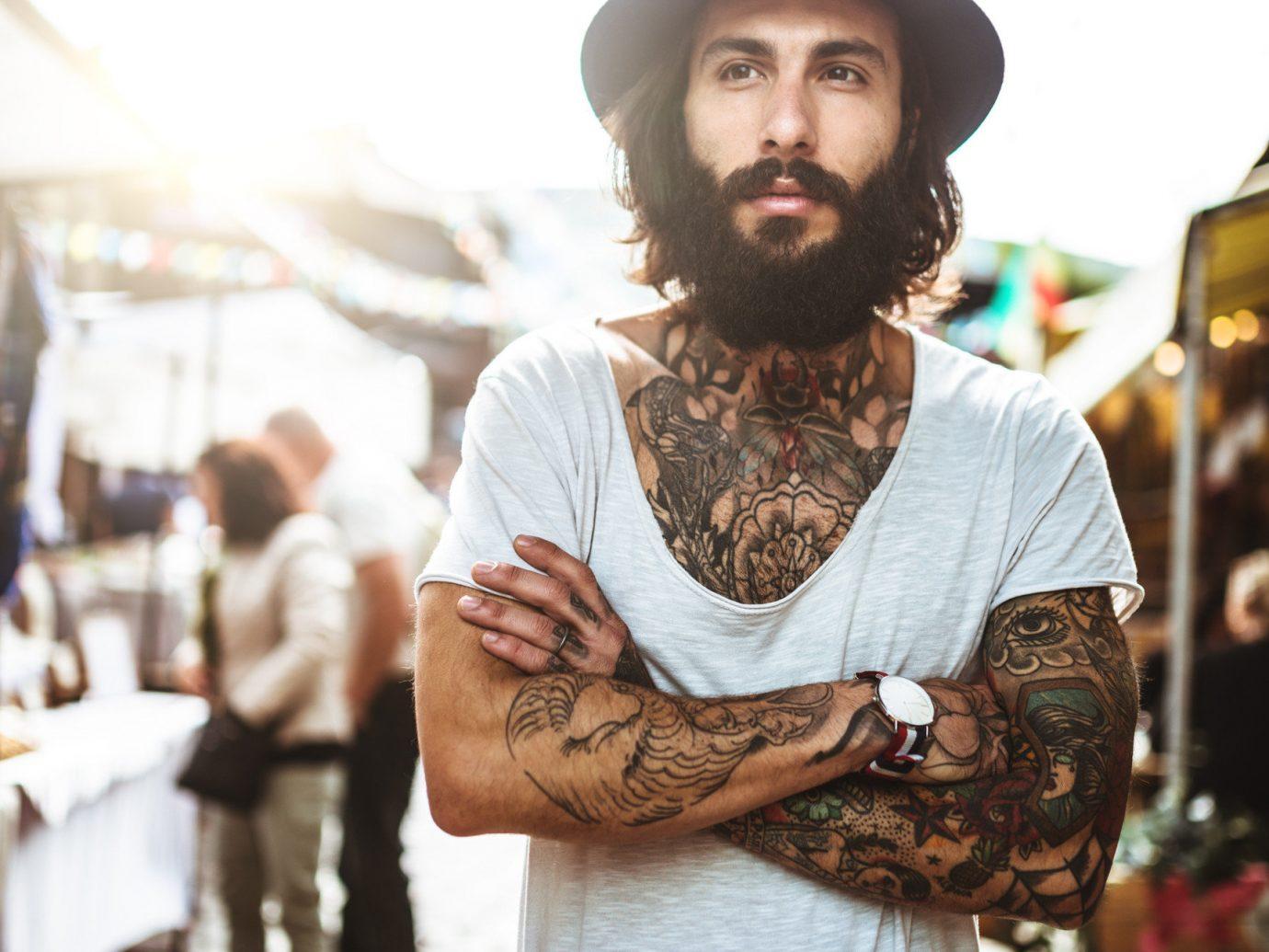 Trip Ideas person outdoor clothing man facial hair fashion hat cap