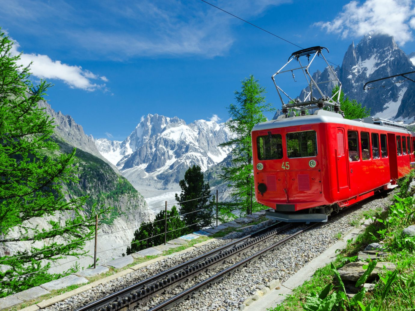 Mountains + Skiing Trip Ideas train sky track outdoor tree mountain range transport mountain Nature cable car rolling stock plant mountainous landforms alps rail transport mode of transport hill station traveling national park railroad car landscape mountain pass mount scenery coming locomotive hill tourism vehicle funicular engine pulling