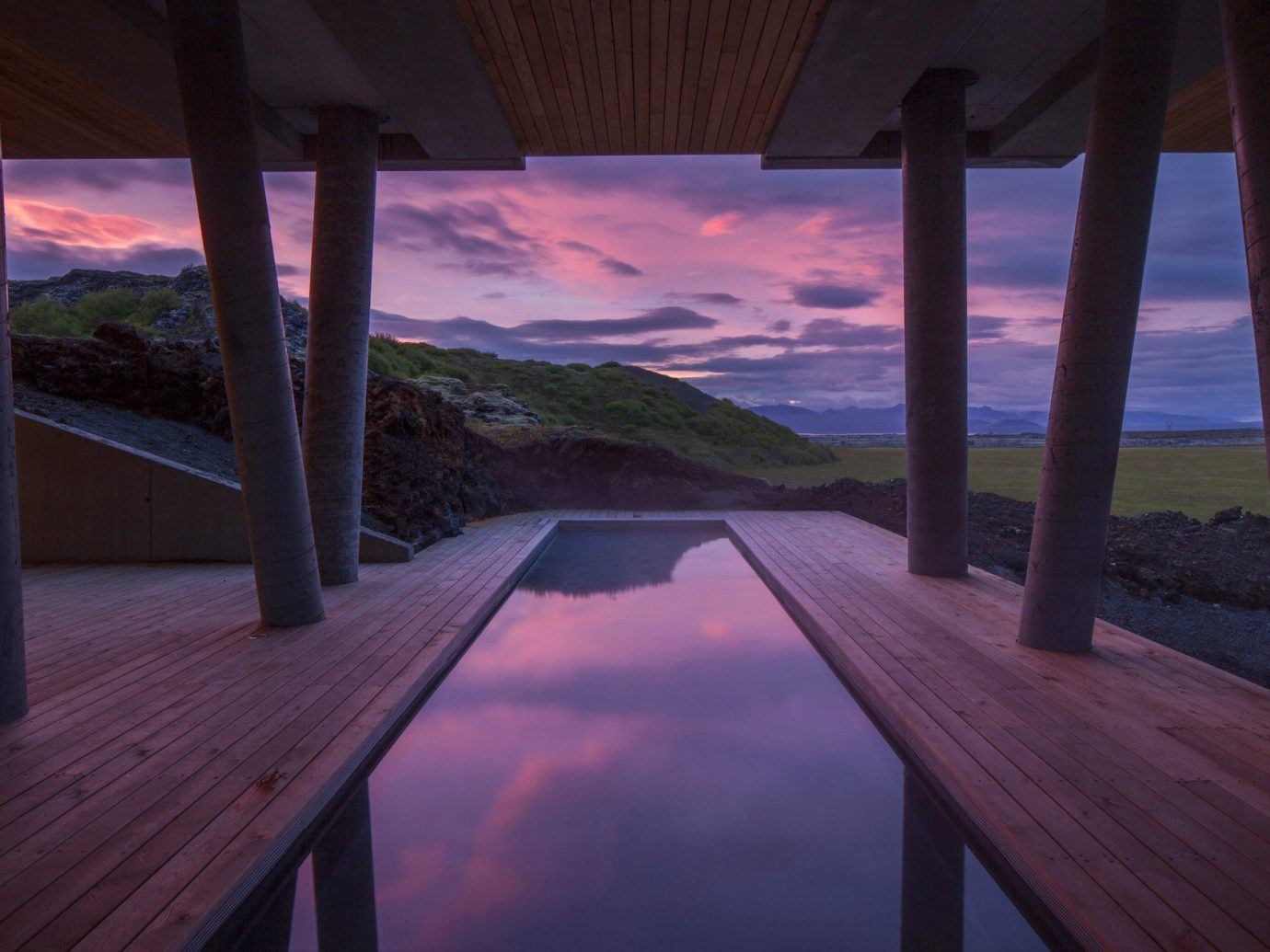 Architecture Boutique calm clouds cloudy contemporary dawn Design dusk Elegant extravagant fancy Hotels Iceland isolation Luxury majestic Modern Mountains Nature outdoor pool Outdoors Patio pink pink sky Pool private private pool purple sky reflection regal remote serene sophisticated Style + Design Sunset Terrace view pier outdoor scene wooden ground sky blue Ocean Sea vacation evening morning estate sunlight Beach screenshot wood overlooking