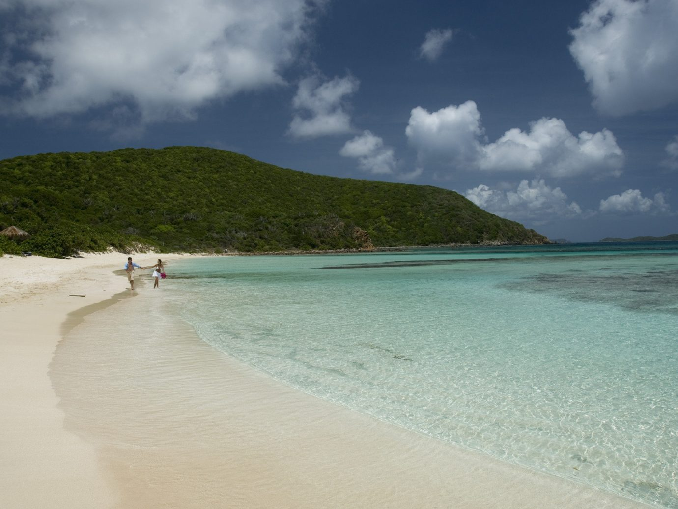 Beach calm clear water Greenery isolation Ocean Outdoors people remote Scenic views serene Trip Ideas Tropical turquoise white sands sky outdoor water Nature Sea shore body of water Coast cloud vacation sand caribbean clouds bay wind wave cloudy Island wave cape tropics sandy day