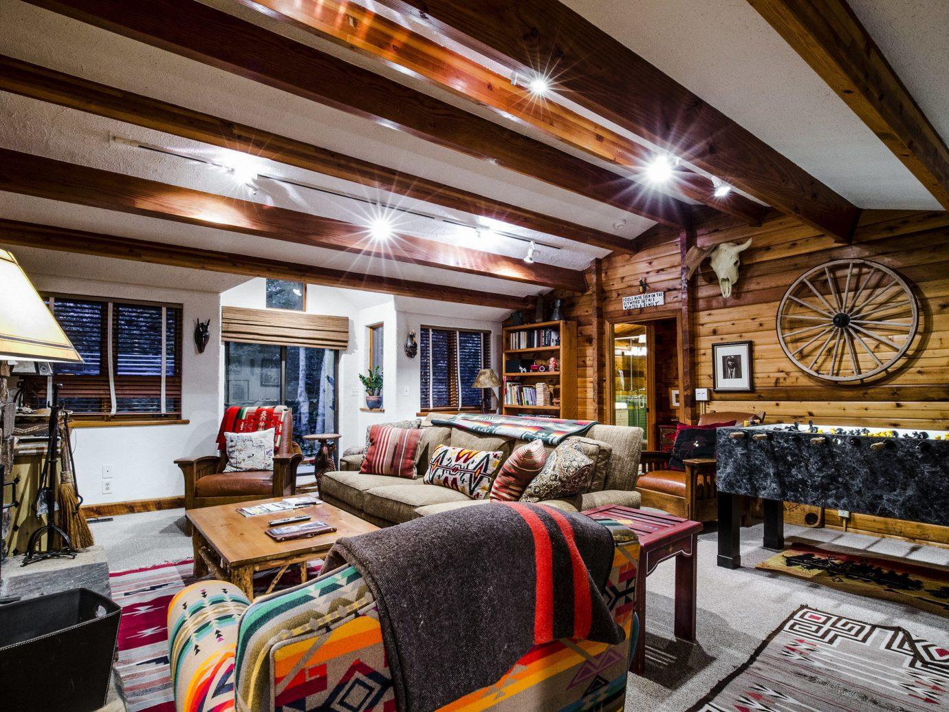 Celebs Hotels Trip Ideas indoor room ceiling Living interior design home wood living room real estate furniture area decorated