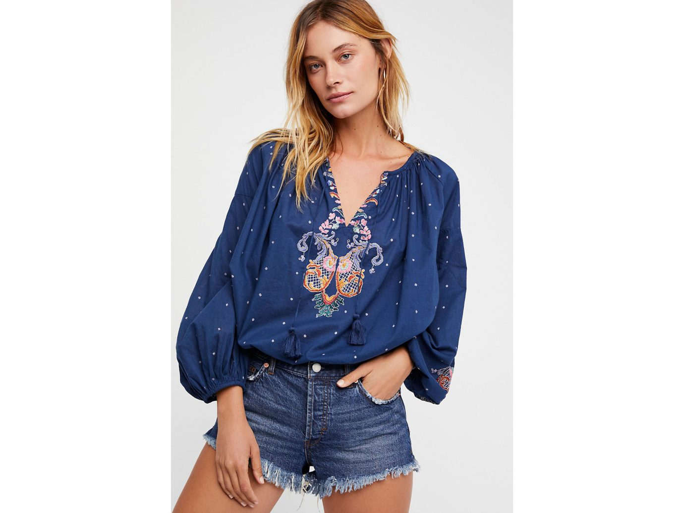 Morocco Packing Tips Style + Design Travel Shop person clothing fashion model shoulder standing posing denim jeans sleeve model neck blouse joint electric blue supermodel