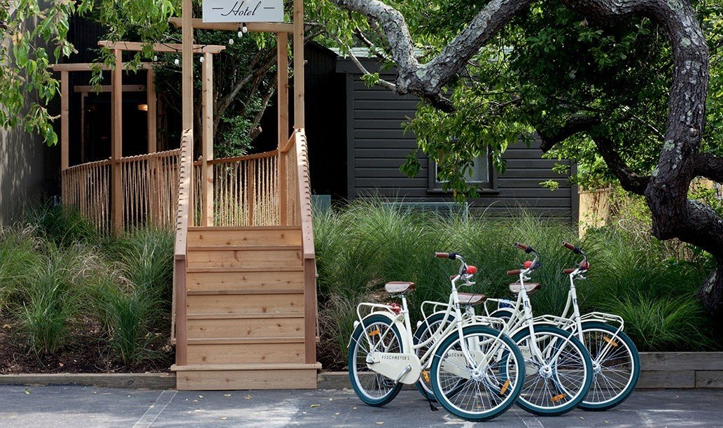 Bikes in front of Ruschmeyer's, Montauk, NY