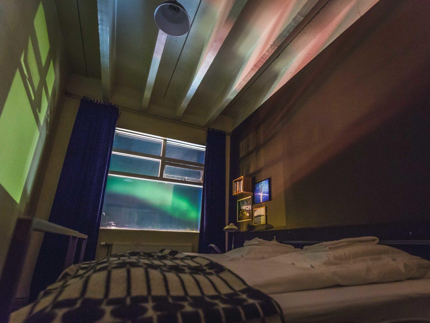 Iceland Trip Ideas indoor wall room ceiling bed light interior design screenshot living room Design