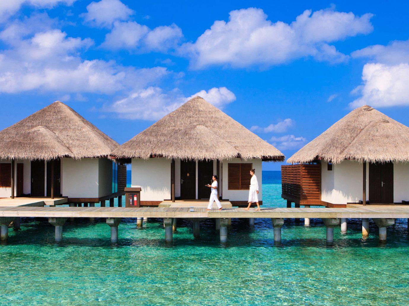 Overwater bungalows at Velassaru Maldives
