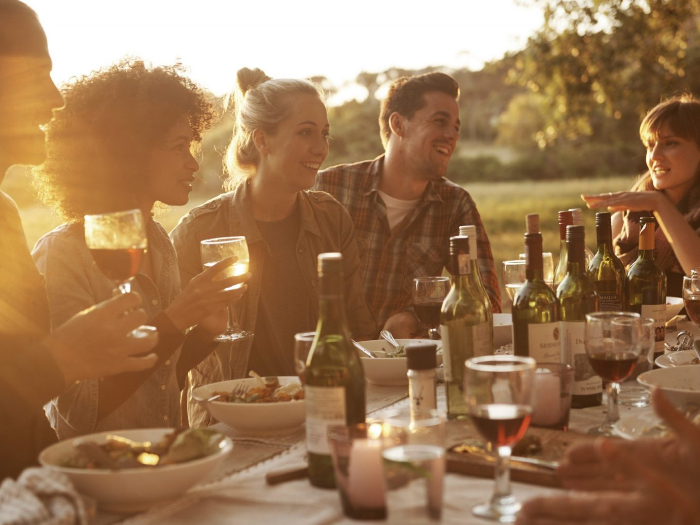 Outdoors + Adventure person table people meal dinner rehearsal dinner ceremony sense drinking dining table