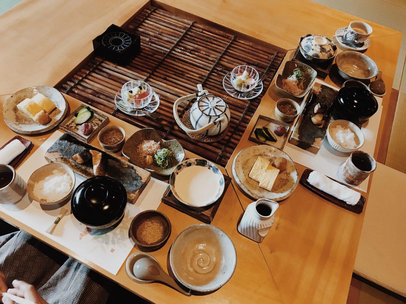 Influencers + Tastemakers Japan Photo Diary Tokyo table indoor plate tableware food meal dish cuisine breakfast brunch finger food coffee cup set variety