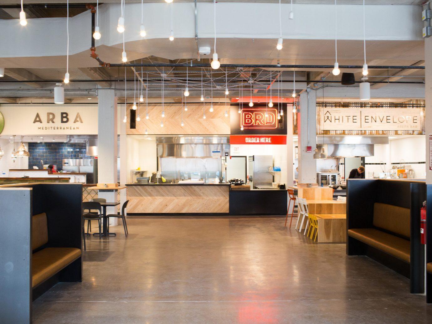 Food + Drink floor indoor interior design Lobby café loft furniture