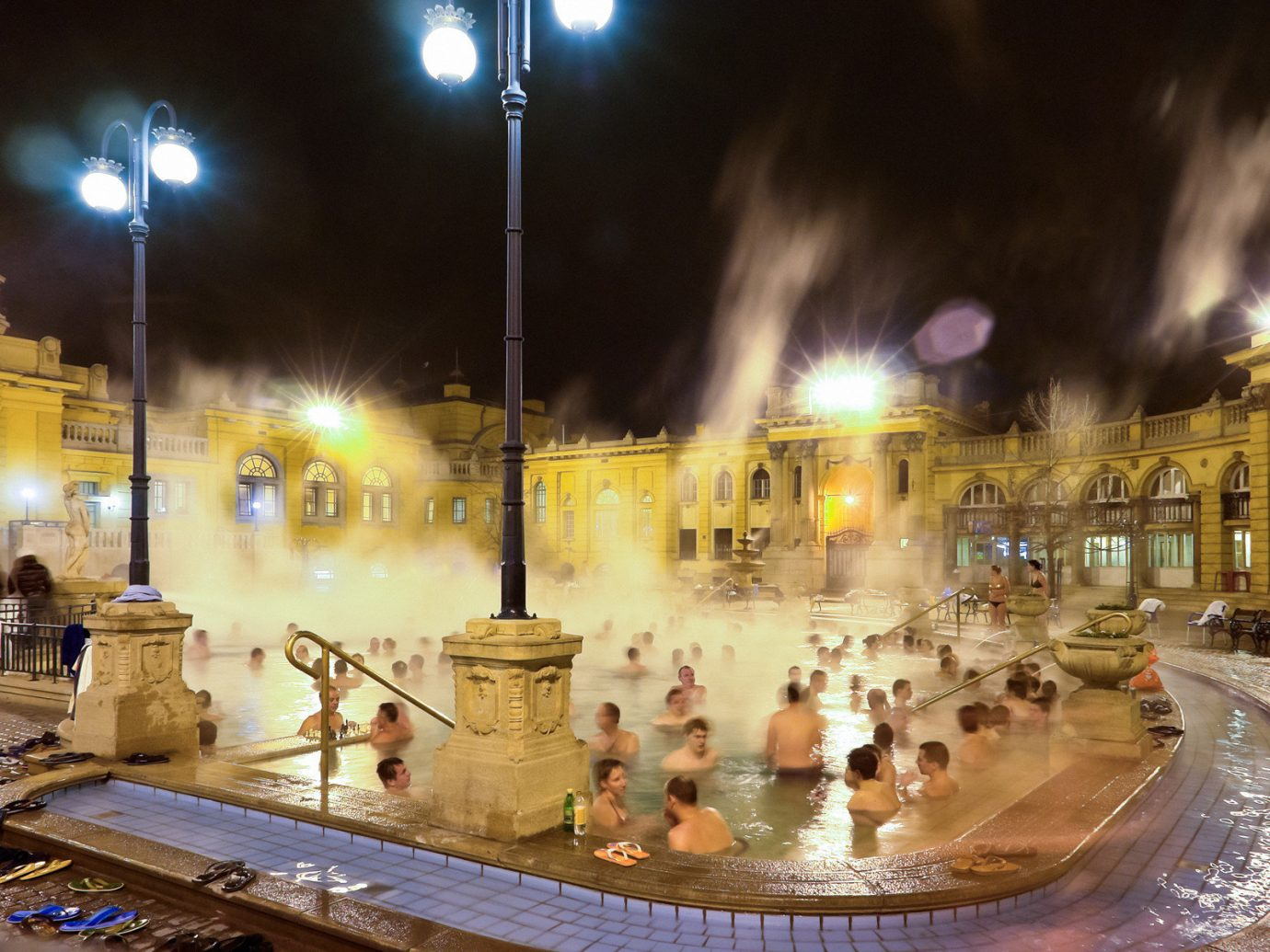 Offbeat fountain night water feature christmas decoration lighting plaza town square