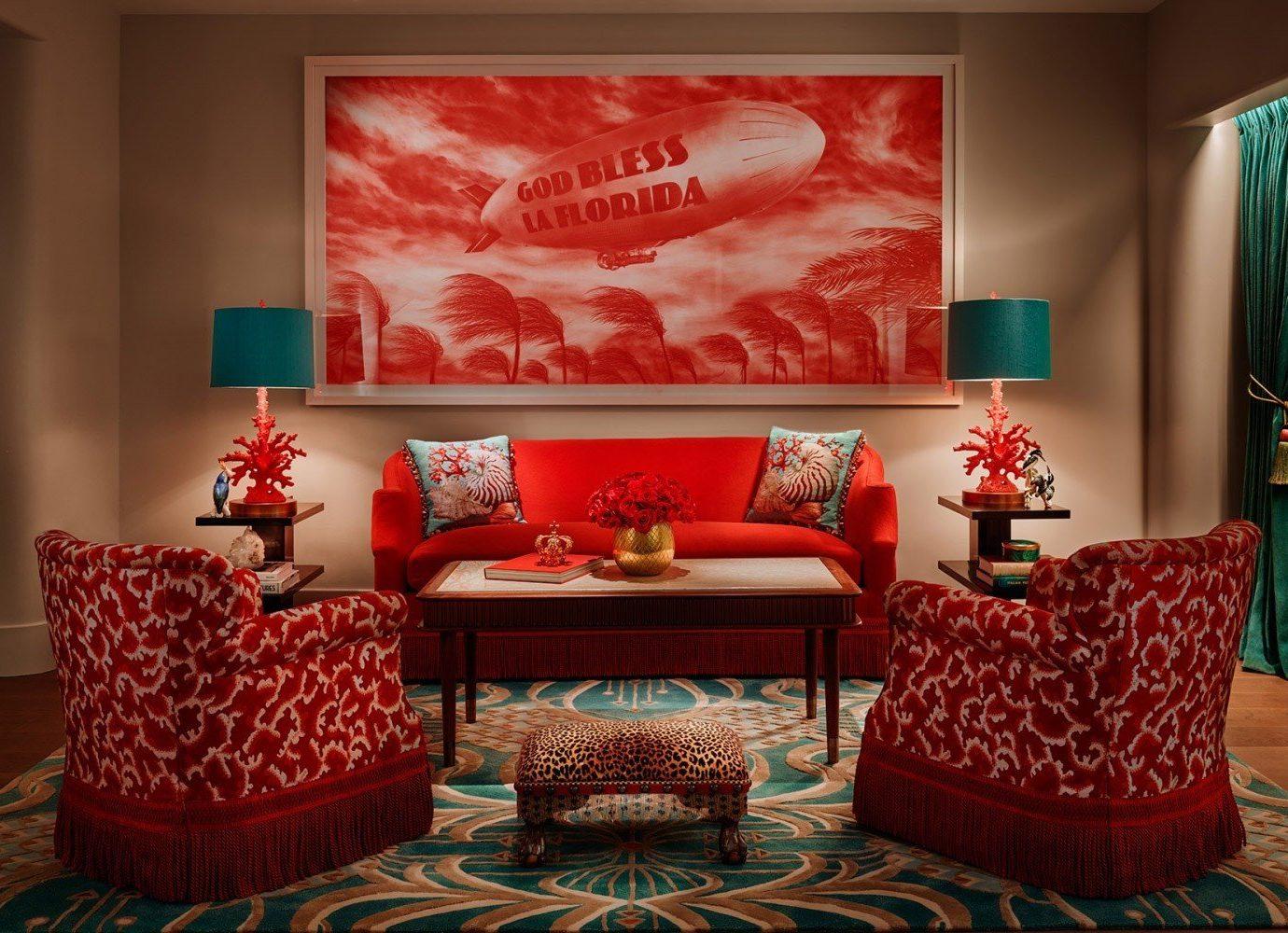Hotels wall indoor room living room red Living interior design modern art home Design bed sheet Suite area decorated furniture