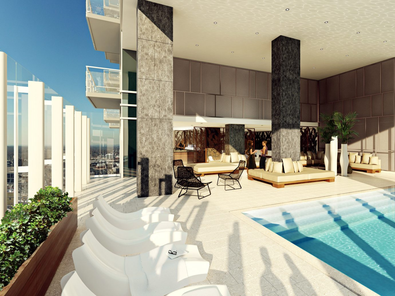 Food + Drink Lounge Luxury Modern Pool property room condominium swimming pool estate home interior design Design Villa real estate mansion apartment area furniture