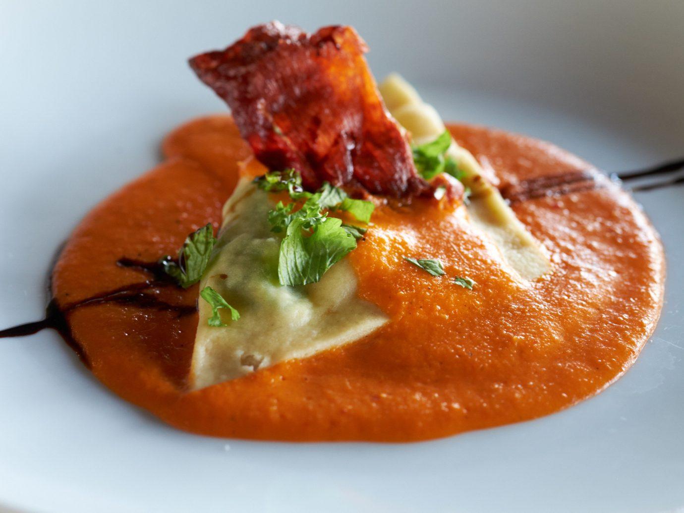 Food + Drink plate food dish slice piece cuisine orange sauce vegetarian food recipe dessert meat meal fresh soup piece de resistance
