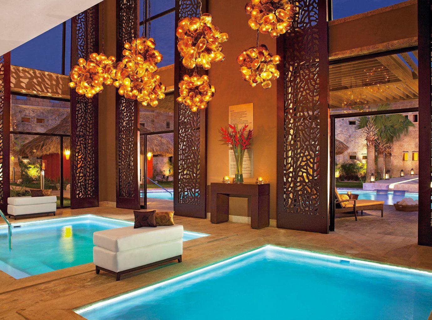 All-Inclusive Resorts Elegant Hot tub/Jacuzzi Hotels Luxury Modern Pool Romance indoor leisure swimming pool estate Resort Lobby interior design mansion blue Villa