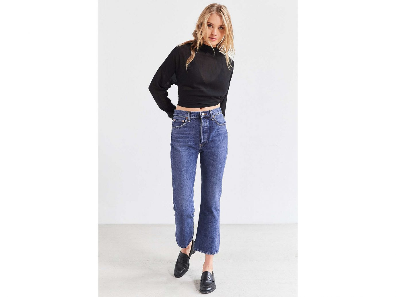 Style + Design jeans clothing person waist denim fashion model shoulder standing trousers joint trunk abdomen electric blue one piece garment pocket neck trouser colored