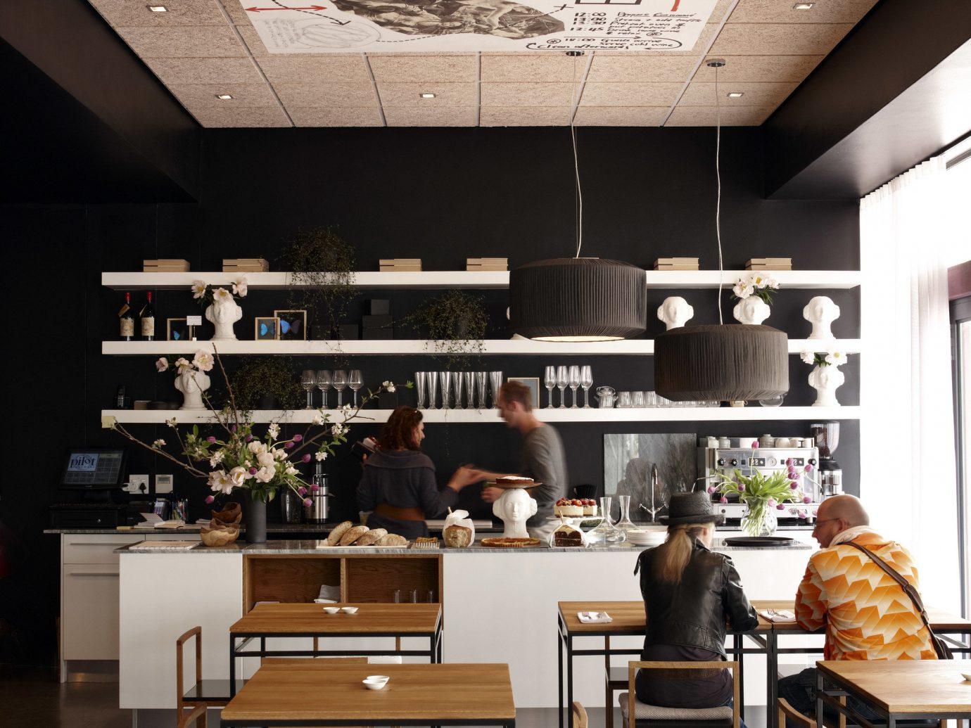Food + Drink indoor floor wall interior design Design restaurant window covering