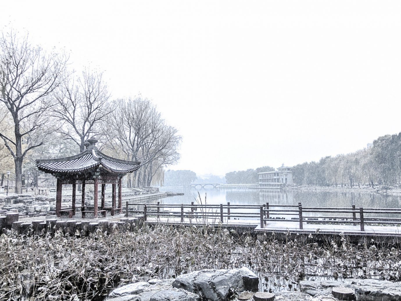 Trip Ideas outdoor sky tree Winter snow building black and white freezing frost water monochrome monochrome photography branch plant ice landscape house