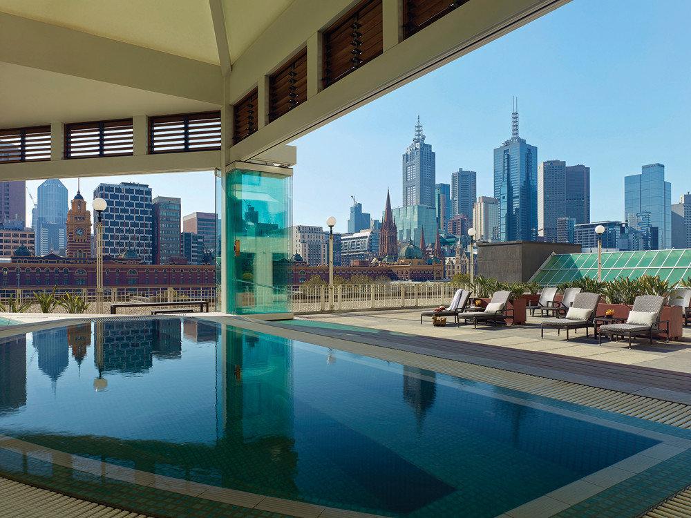 Australia Hotels Melbourne swimming pool leisure property condominium building City reflecting pool estate Downtown plaza skyscraper Resort skyline several