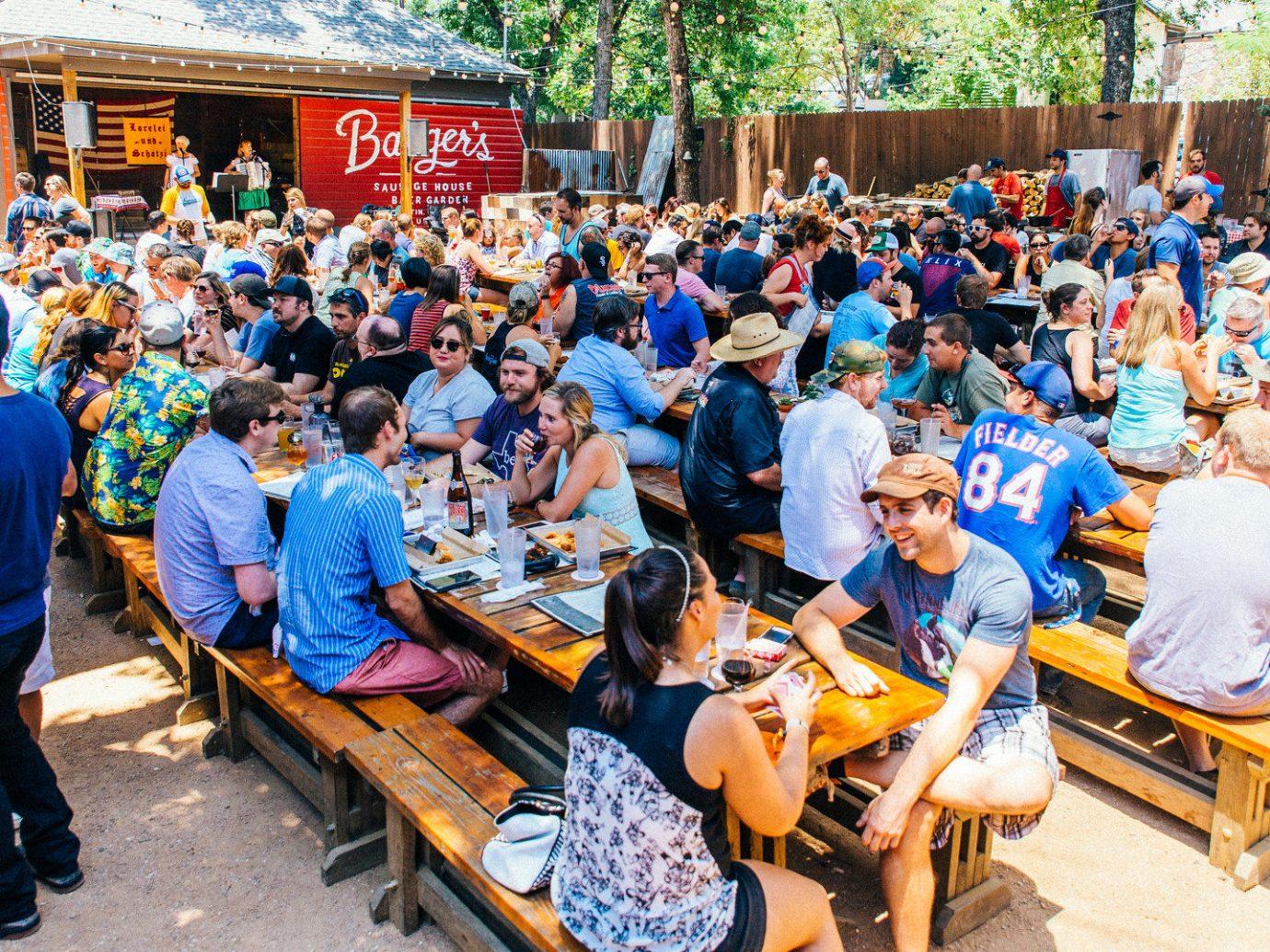 Austin beer garden crowd Food + Drink Girls Getaways outdoor dining Patio people Terrace Texas Trip Ideas Weekend Getaways person social group outdoor scene group youth community