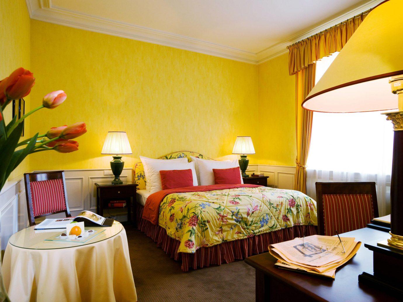 Bedroom City Classic Elegant europe Historic Hotels Prague wall indoor room Suite yellow Resort ceiling estate cottage interior design real estate Villa bright furniture