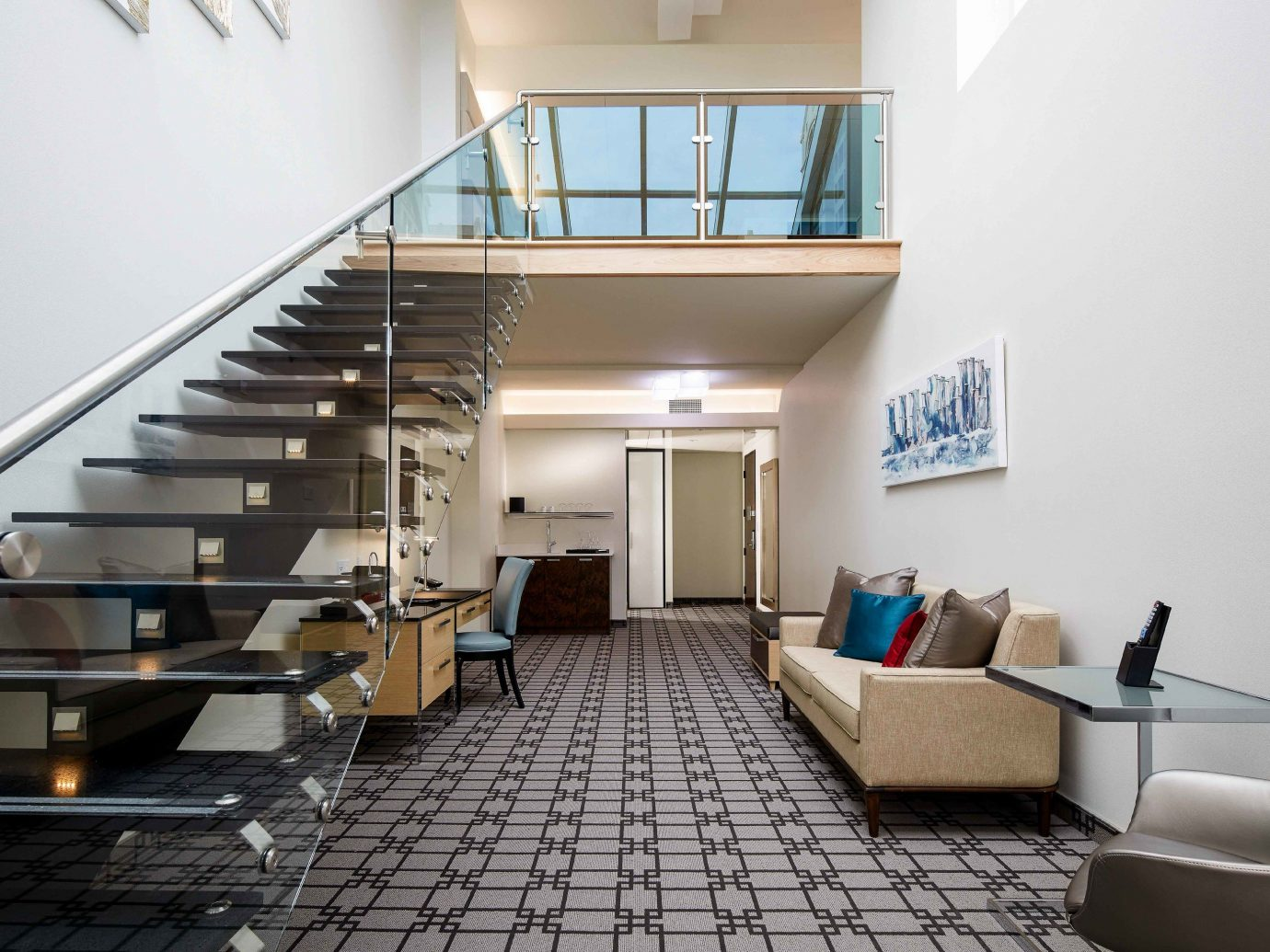Boutique Hotels Chicago Hotels property stairs interior design Lobby real estate living room daylighting loft apartment floor condominium handrail