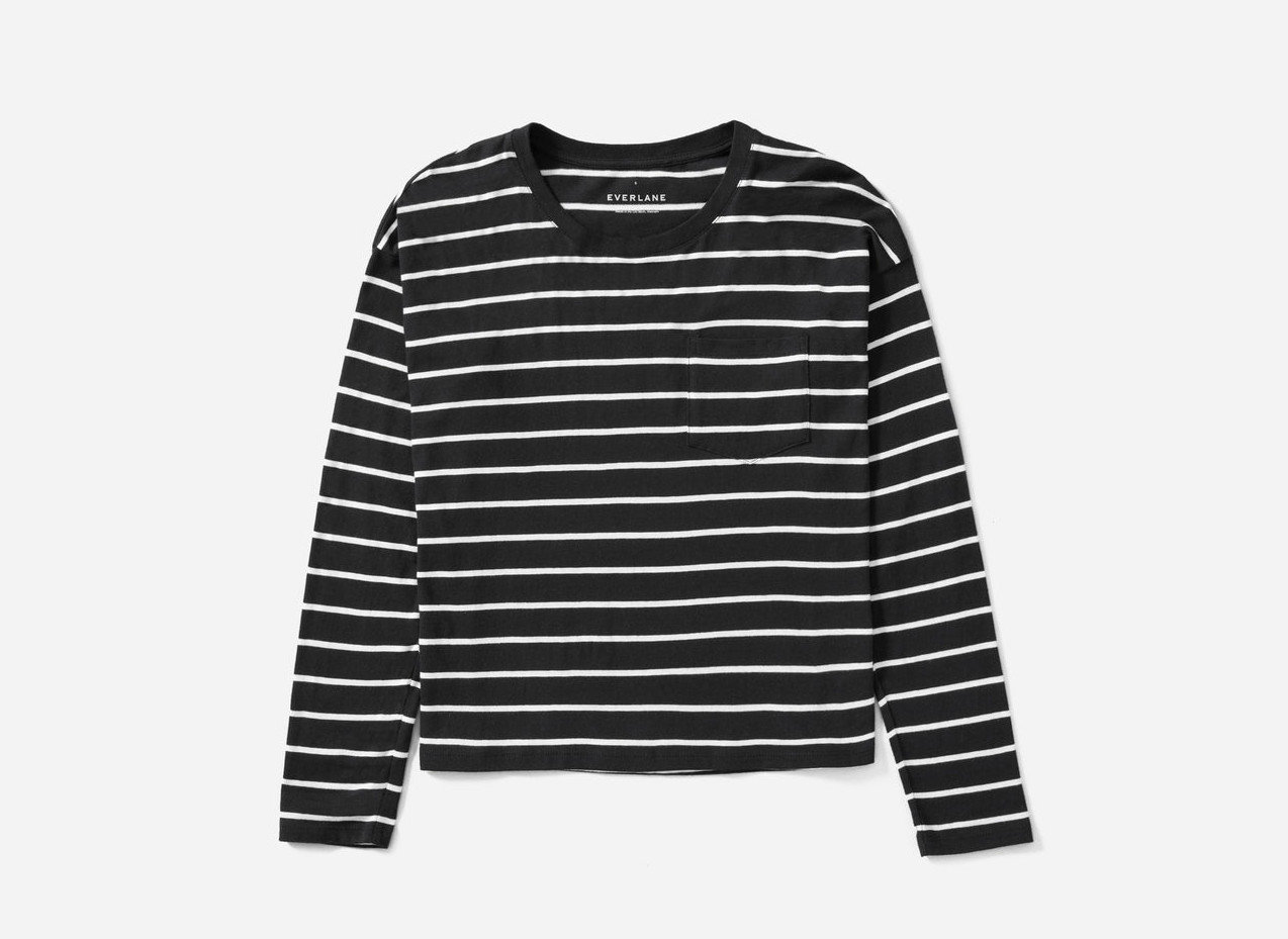Japan Packing Tips Style + Design Travel Shop white black sleeve long sleeved t shirt sweater shoulder outerwear product neck pattern black and white t shirt
