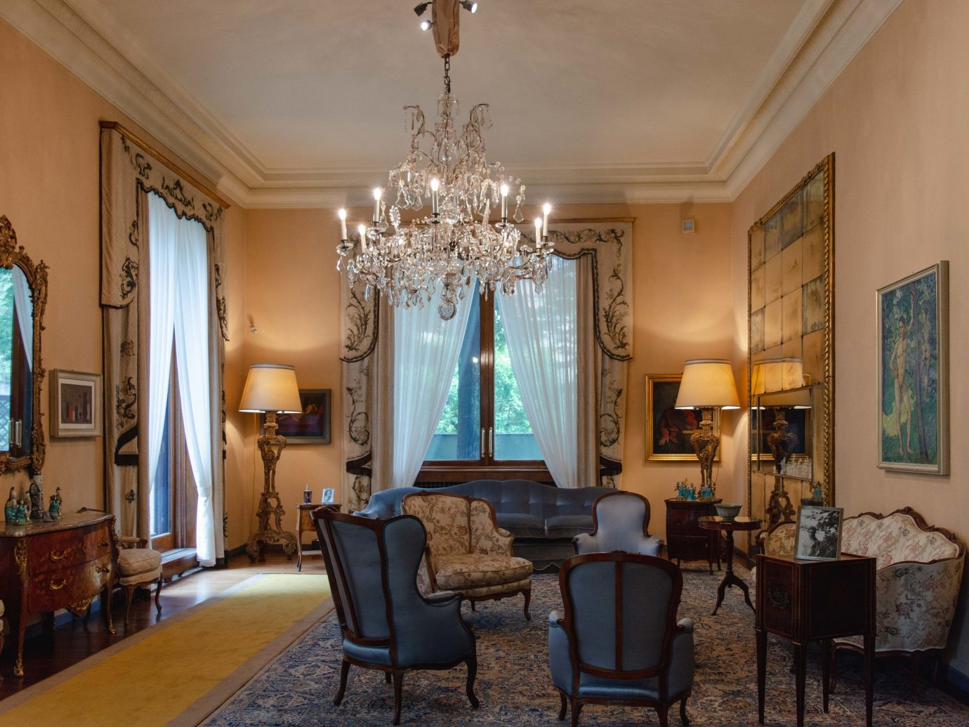 Arts + Culture Italy Milan indoor room floor wall Living ceiling chair living room property interior design furniture dining room real estate home estate window Suite house area apartment decorated