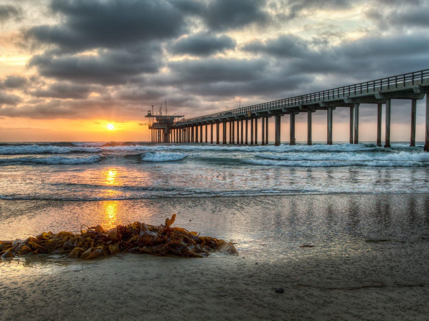 America Trip Ideas West Coast sky outdoor water pier shore Sea reflection scene horizon Beach Coast Ocean wave cloud Sunset sunrise morning dusk dawn evening sunlight sand bay clouds cloudy