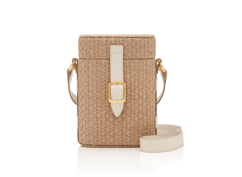 Officina del Poggio Mini Safari Leather-Trimmed Straw Shoulder Bag