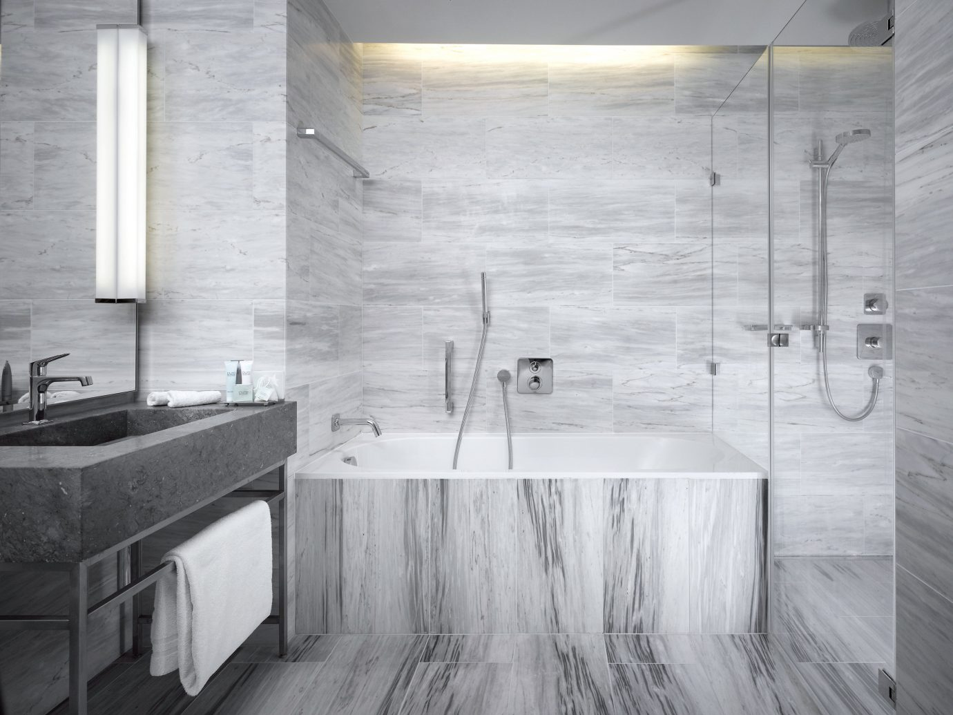 Bath europe Hip Hotels Modern Prague Resort indoor floor room bathroom plumbing fixture interior design tile Design flooring bathtub