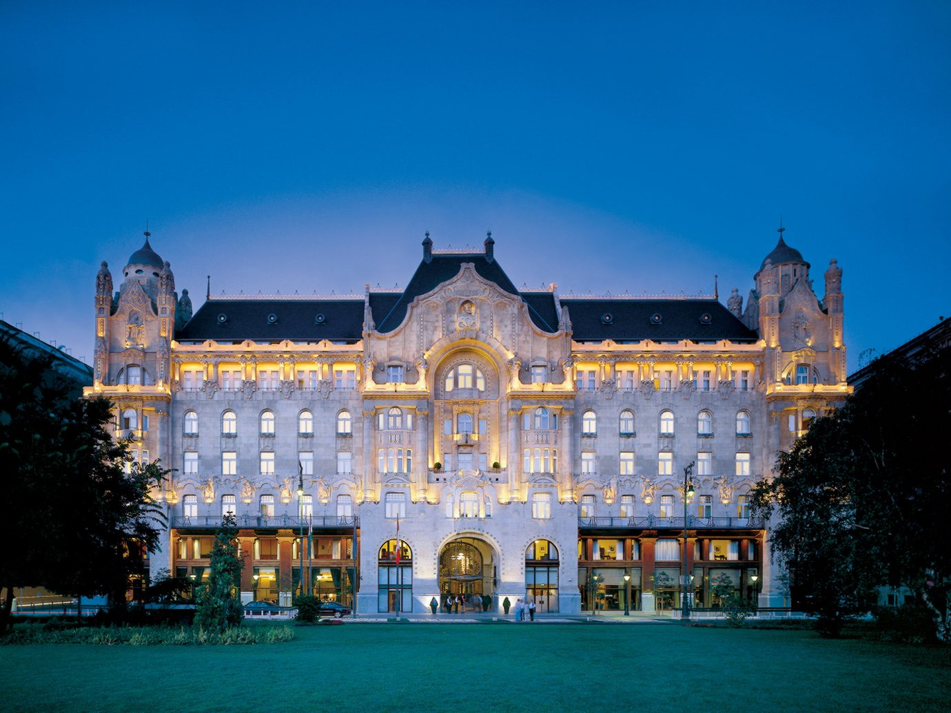 Architecture Budapest Buildings Elegant europe Exterior Garden Grounds Historic Hotels Hungary Luxury building outdoor sky landmark night house palace estate cityscape evening plaza town square
