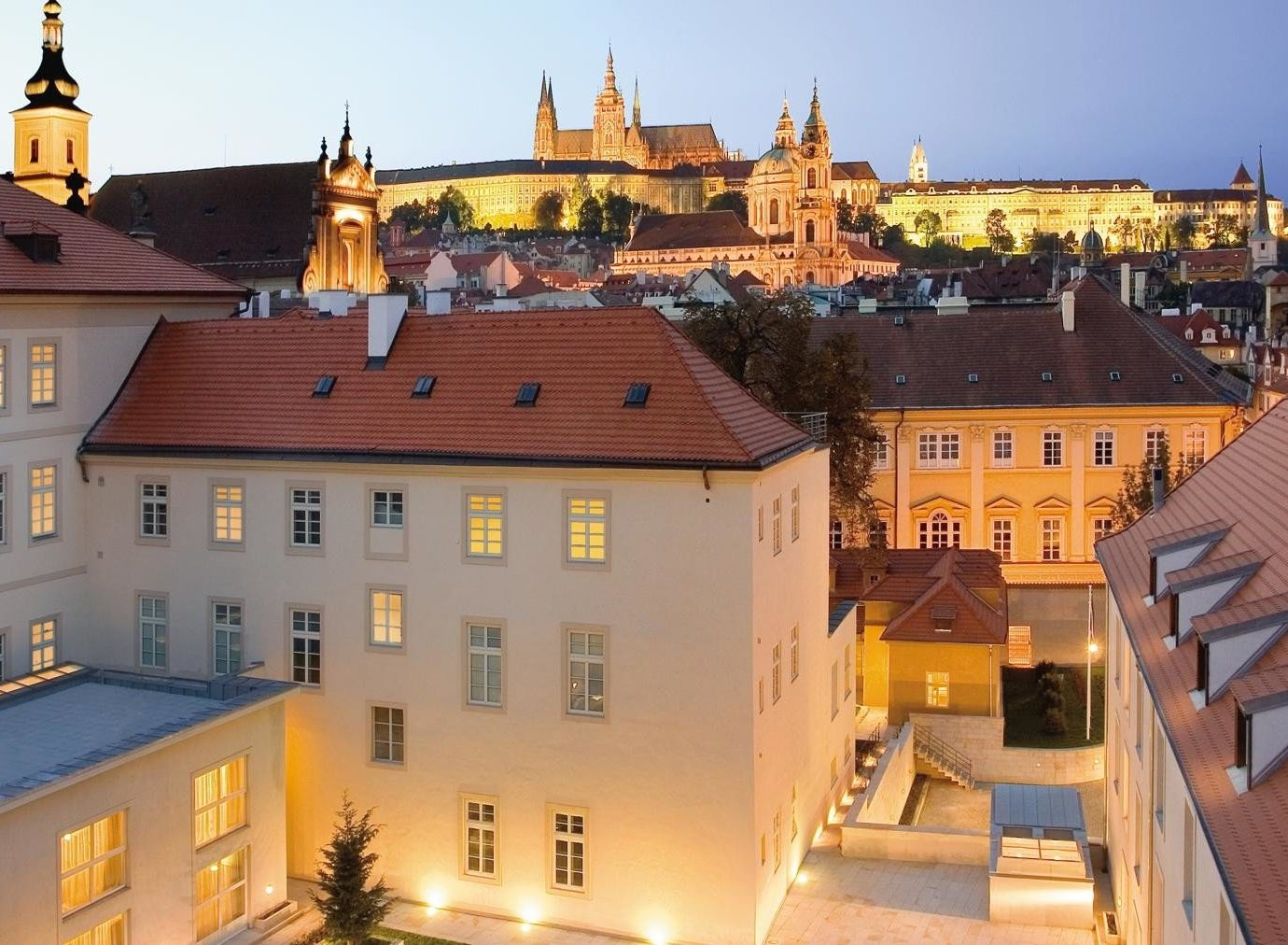 europe Hotels Prague Town landmark City historic site château building evening roof medieval architecture sky tourist attraction plaza facade town square tourism estate window cityscape palace