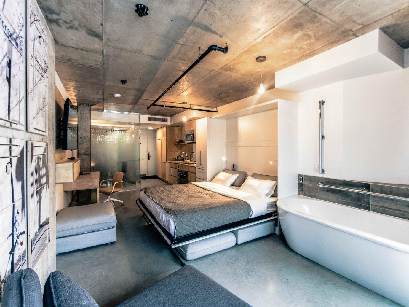 Boutique Hotels Chicago Hotels indoor floor ceiling room interior design loft Suite