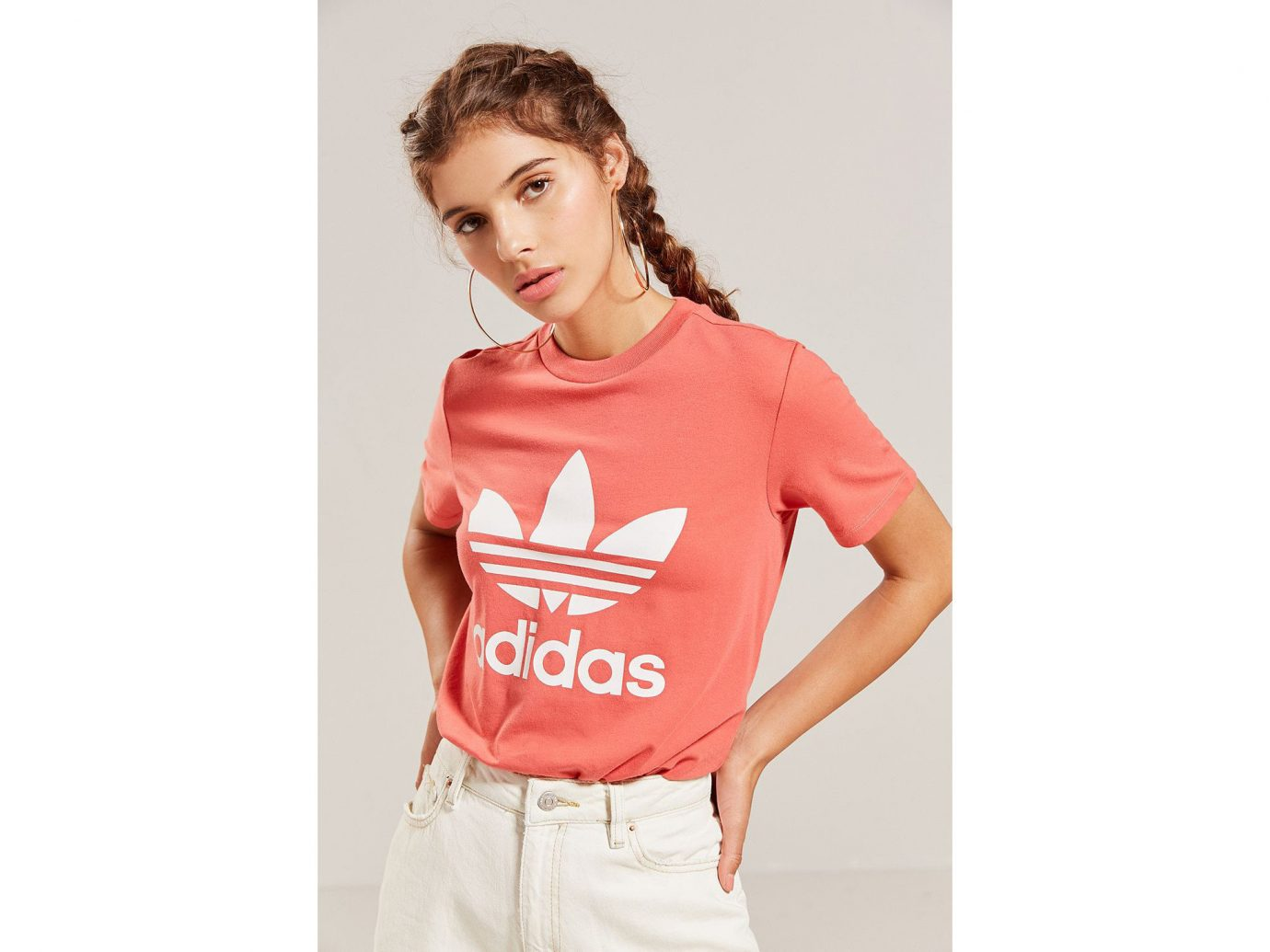 Spring Travel Style + Design Summer Travel Travel Shop person clothing t shirt fashion model sleeve shoulder neck posing outerwear joint product supermodel top peach