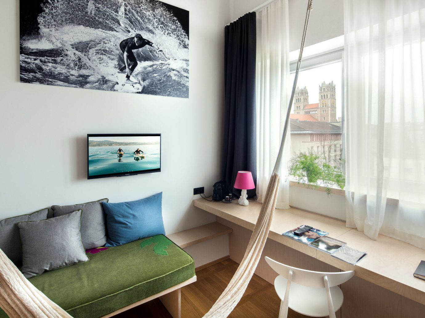 airy bed Bedroom charming city views clean cozy europe Germany Hotels interior living area living room Lounge Munich natural light quaint Suite view window indoor wall floor room property Living green home interior design Design apartment cottage condominium furniture decorated