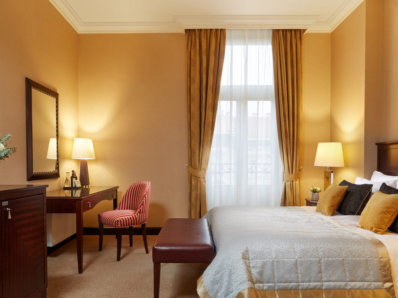 Budapest europe Hotels Hungary wall indoor floor room sofa hotel bed chair property Bedroom Suite interior design estate real estate nice cottage apartment decorated furniture
