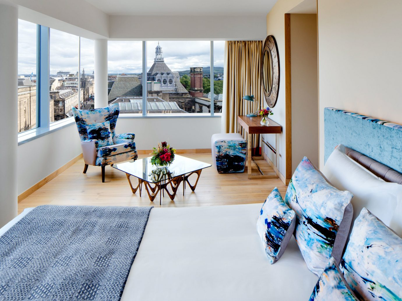 Edinburgh Hotels Jetsetter Guides Scotland Travel Tips Trip Ideas indoor window wall floor room Living furniture home ceiling interior design living room decorated real estate Suite house Bedroom colored