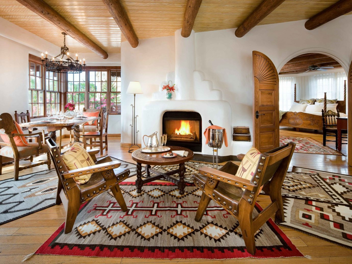 indoor floor room table Living living room interior design flooring wood real estate estate furniture hardwood