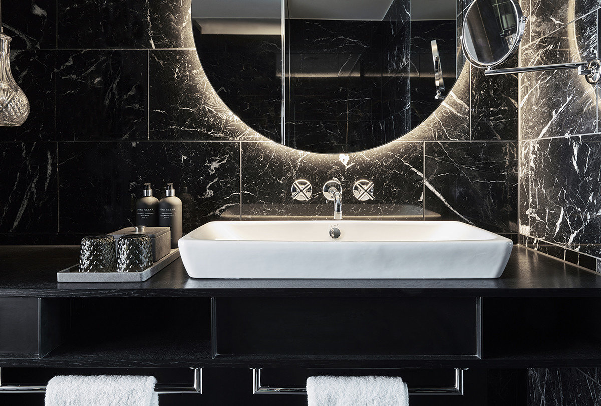 europe Germany Hotels Munich black bathroom room tile wall interior design flooring floor sink angle ceramic plumbing fixture pattern