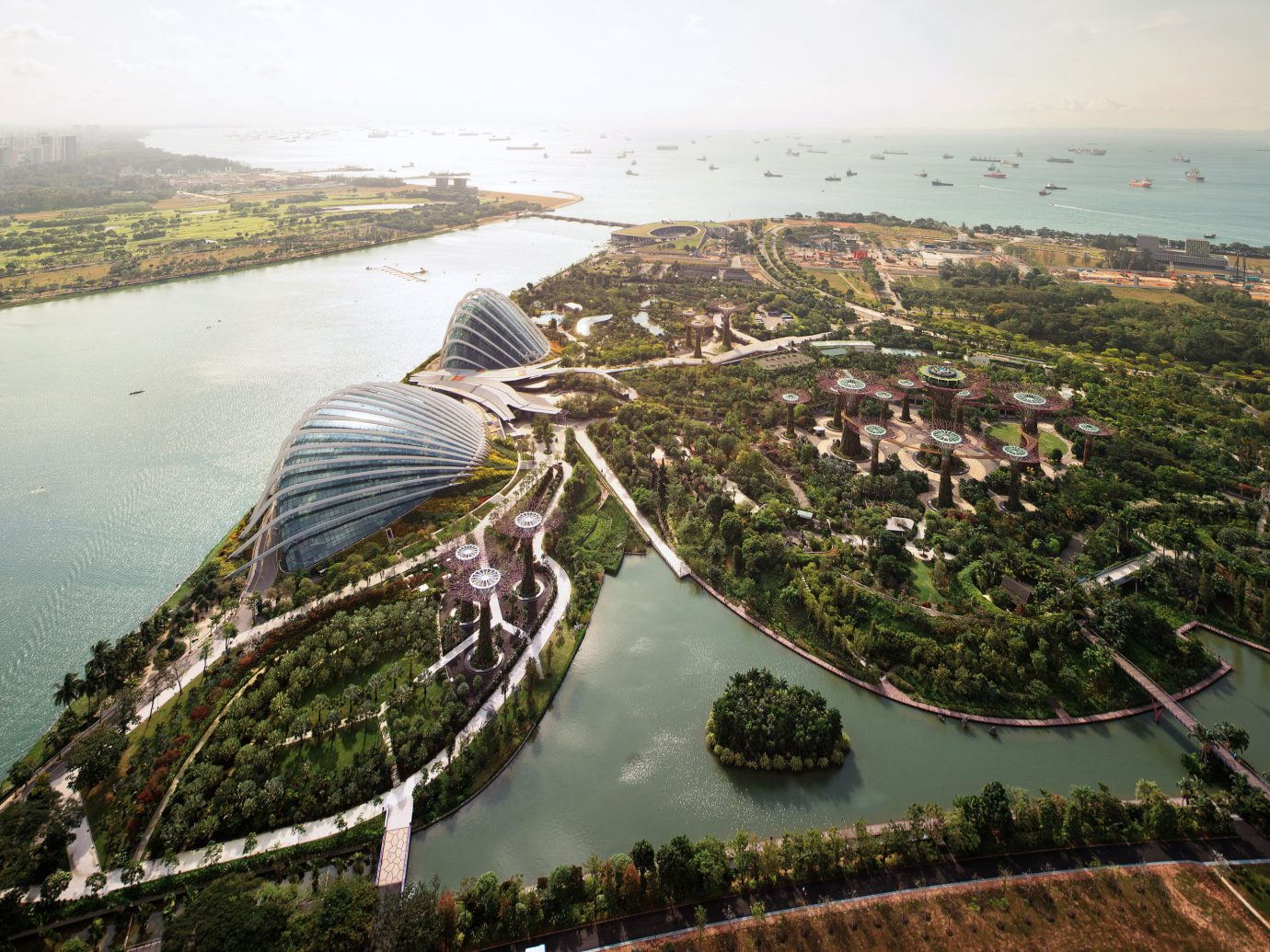 Arts + Culture Singapore Southeast Asia Trip Ideas sky water outdoor aerial photography bird's eye view Nature Coast Lake Sea River tourism bay reservoir overlooking shore surrounded