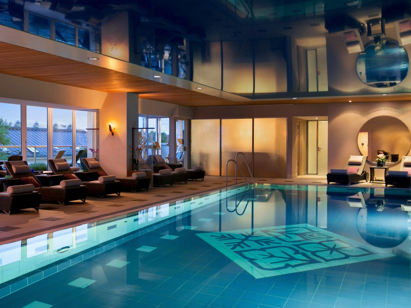 europe Germany Hotels Munich indoor swimming pool window property leisure Resort room estate billiard room interior design mansion blue