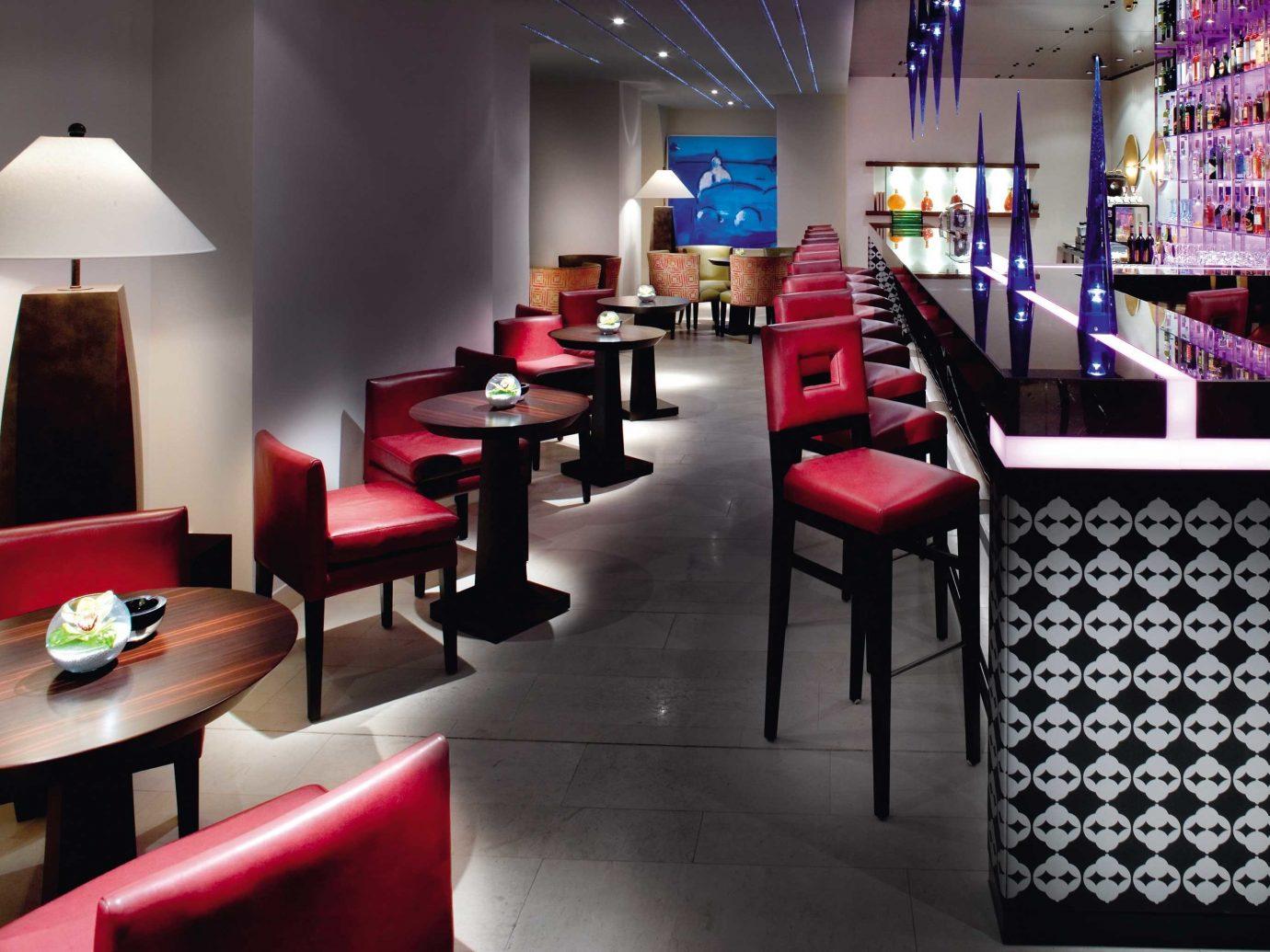 Bar Dining Drink Eat europe Hotels Luxury Modern Prague indoor table wall room floor Living restaurant red interior design furniture function hall Design Lobby dining room area several