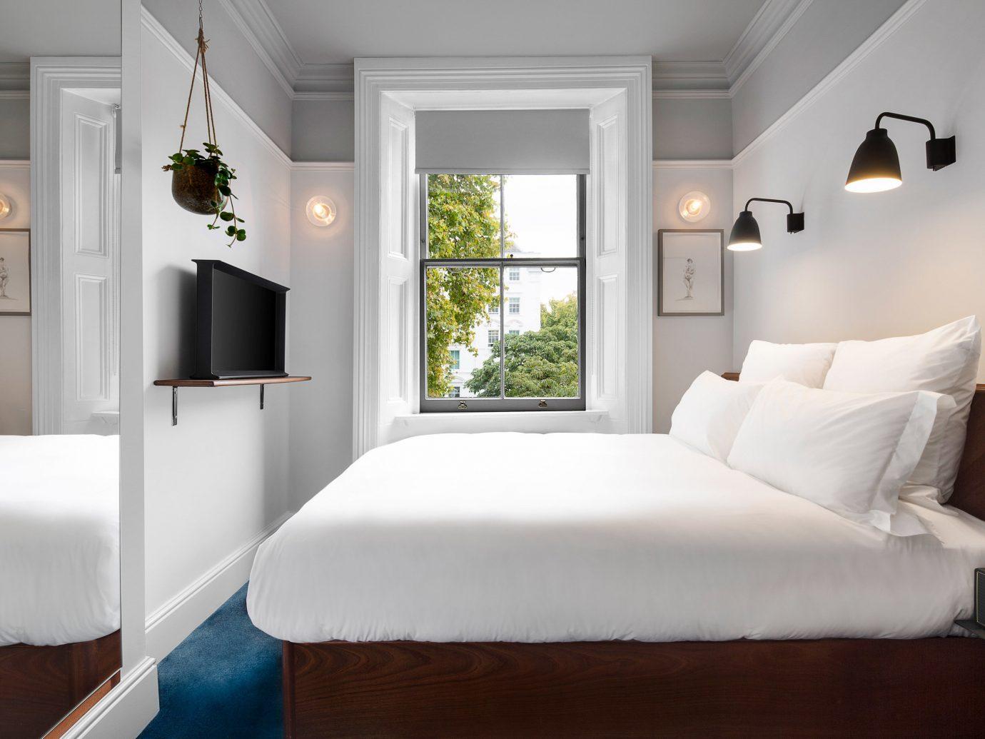 indoor wall sofa bed floor room Bedroom bed frame window interior design Suite home ceiling white furniture real estate hotel estate comfort mattress daylighting bed sheet decorated