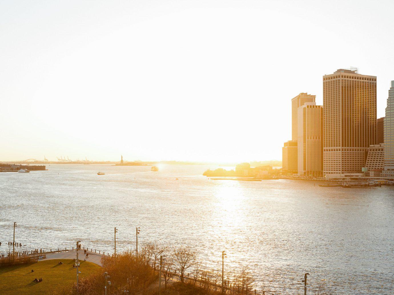 Food + Drink NYC sky water Sea horizon morning sunlight reflection skyline calm City evening building