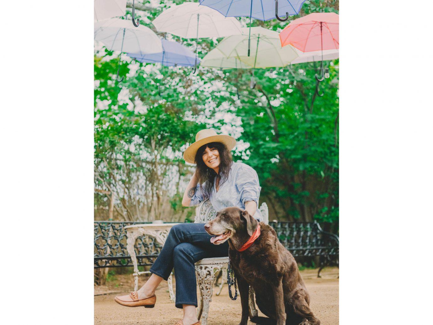 Dog photograph outdoor person mammal vertebrate snapshot tree fun plant umbrella dog like mammal vacation