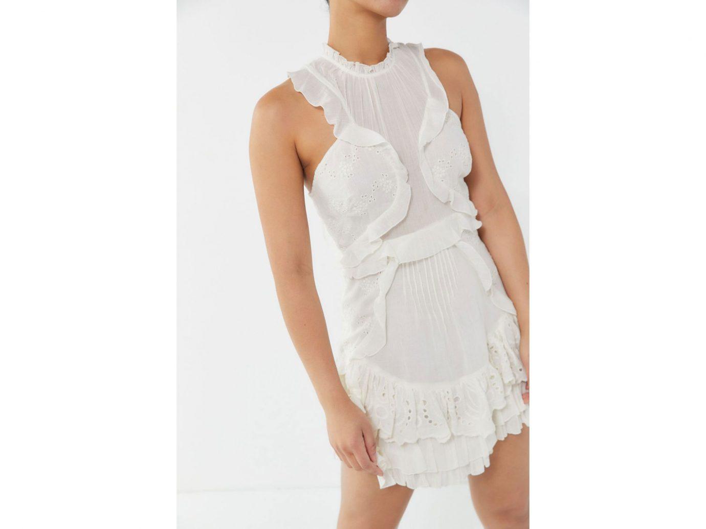 Urban Outfitters Mia Eyelet Ruffle Mini Dress