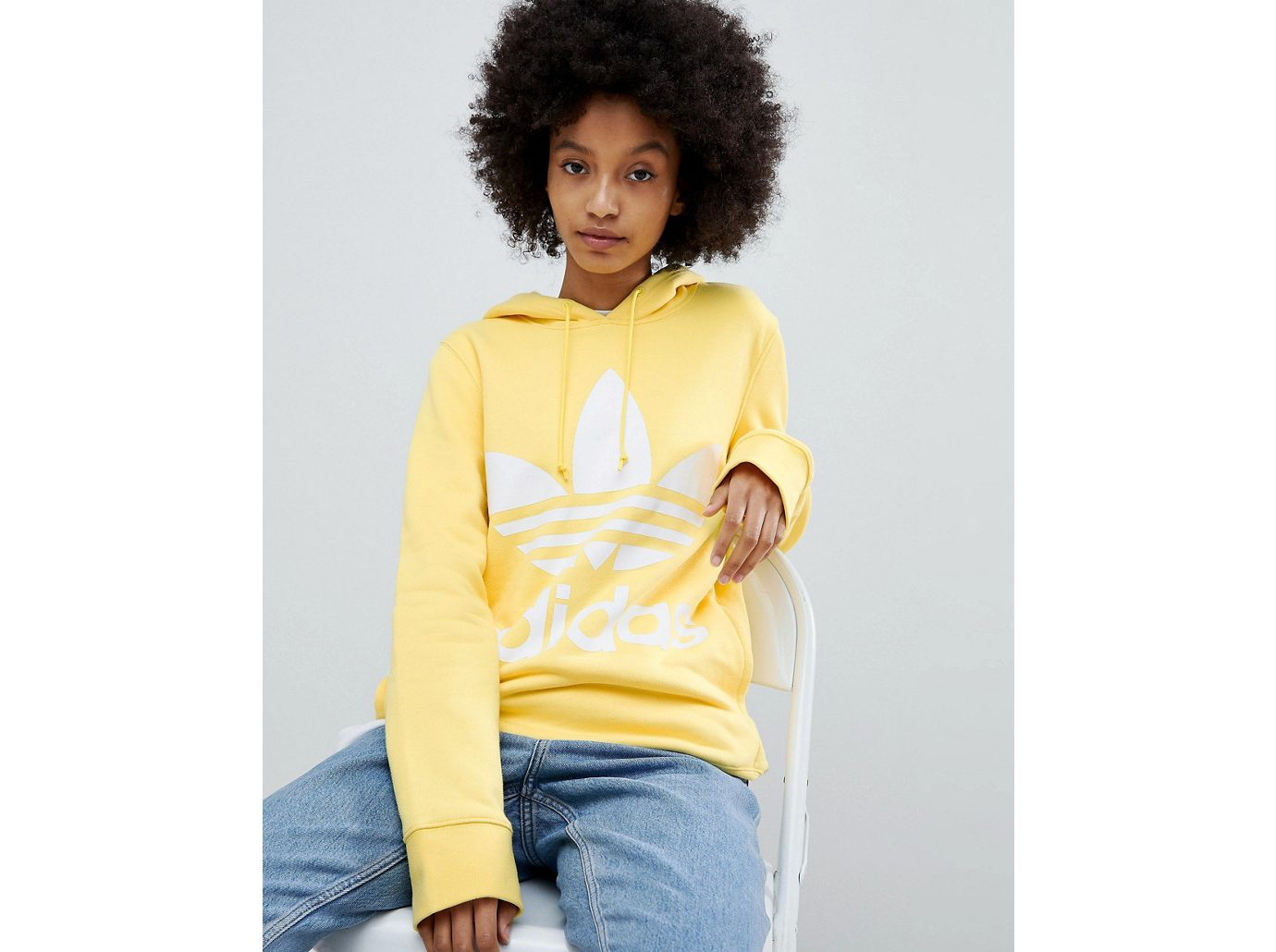 best sweatshirts, Adidas originals adicolor Trefoil Hoodie in Yellow